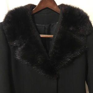 Jackets & Blazers - long dress coat w/ faux fur trim EUC